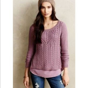 Moth | Cable Knit Sweater Silk Underneath Plum